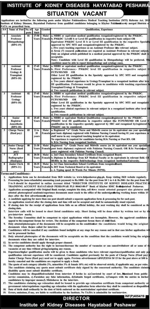 Institute of Kidney Diseases Peshawar Jobs