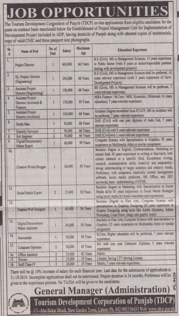 Tourism Development Corporation Of Punjab TDCP jobs