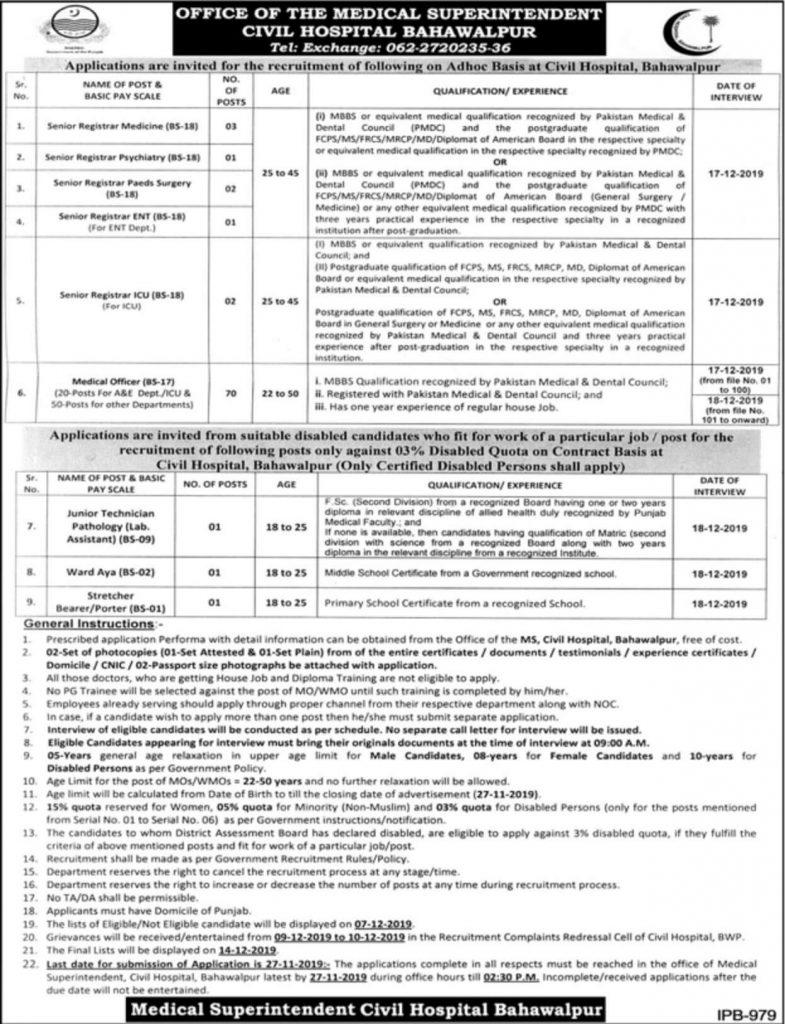 Civil-Hospital-Bahawalpur-Jobs-2019