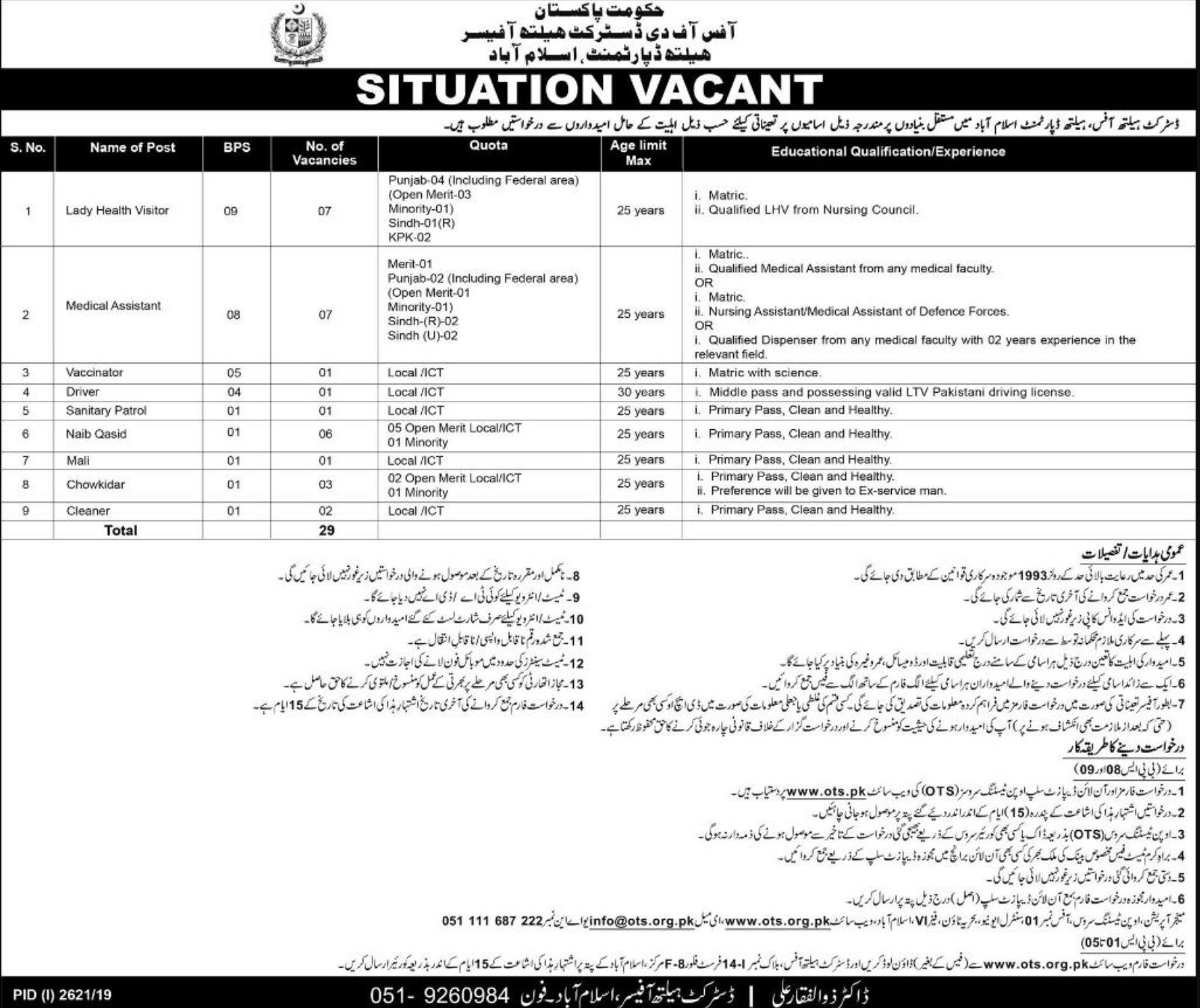 Health-Department-Islamabad-Jobs-2019