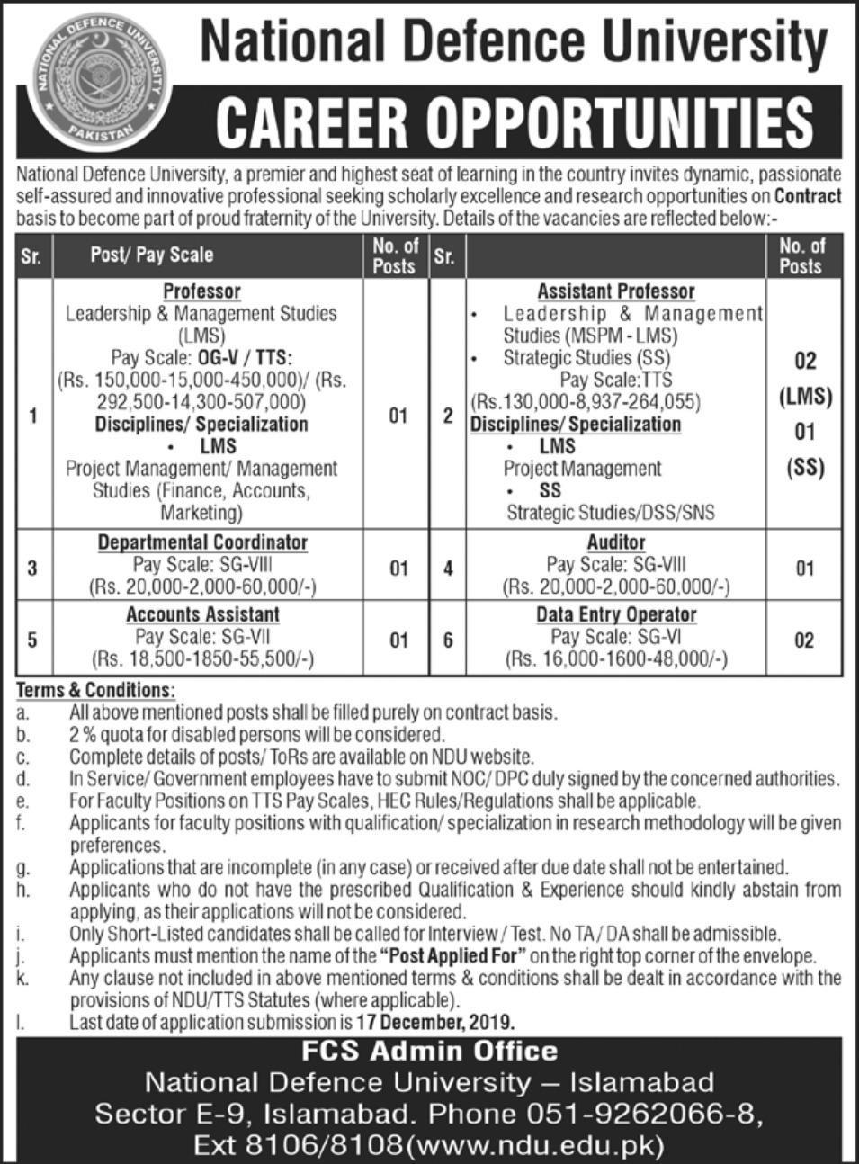 National-Defence-University-Islamabad-Jobs-2019