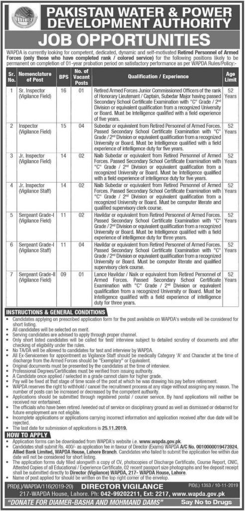 Wapda-Jobs-2019-Pakistan-Water-Power-Development-Authority