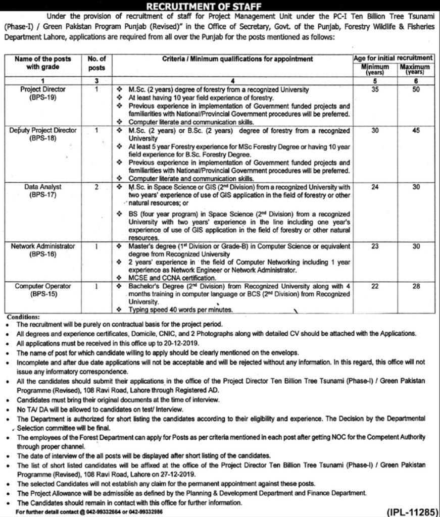 Punjab-Forest-Wildlife-Fisheries-Department-Jobs-2019
