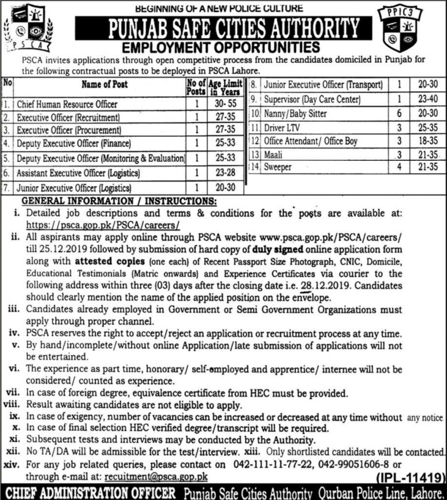 Punjab-Safe-Cities-Authority-PSCA-Punjab-Police-Jobs-2019