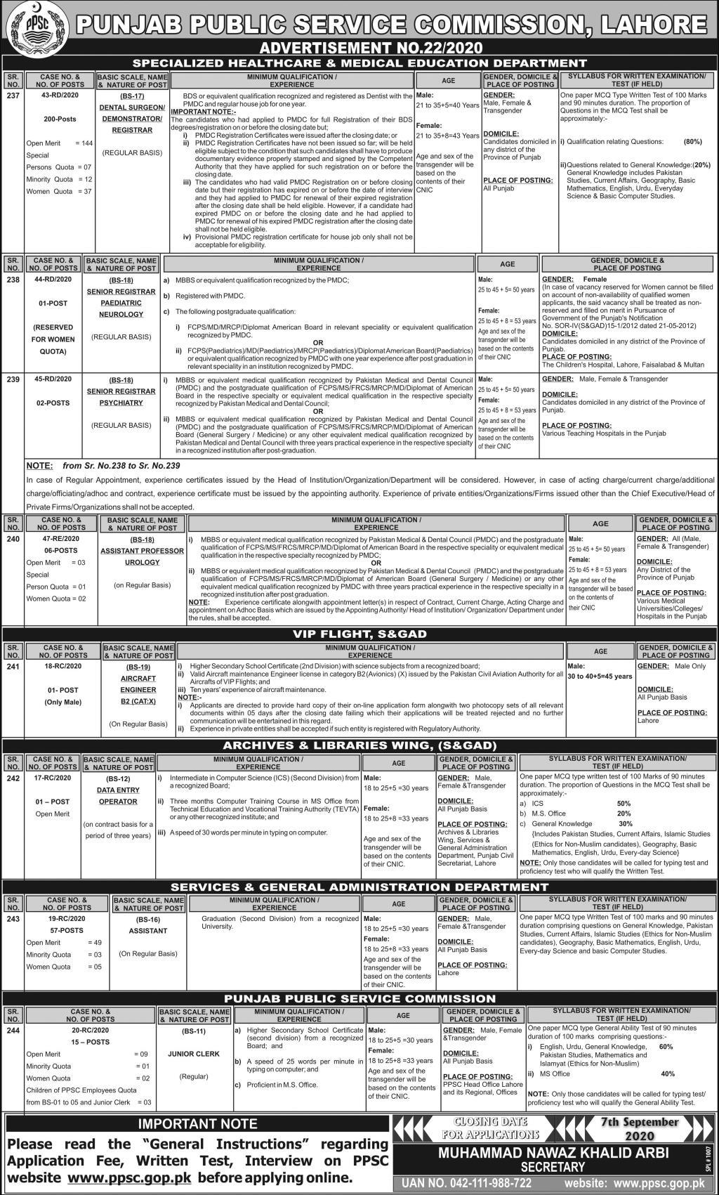 punjab-public-service-commission-ppsc-Lahore-Jobs-2020