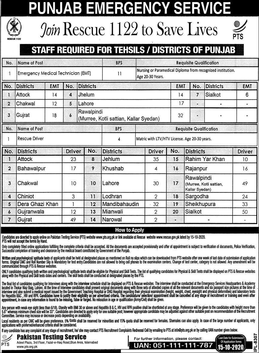 Rescue-1122-government-of-punjab-pakistan-jobs-2020