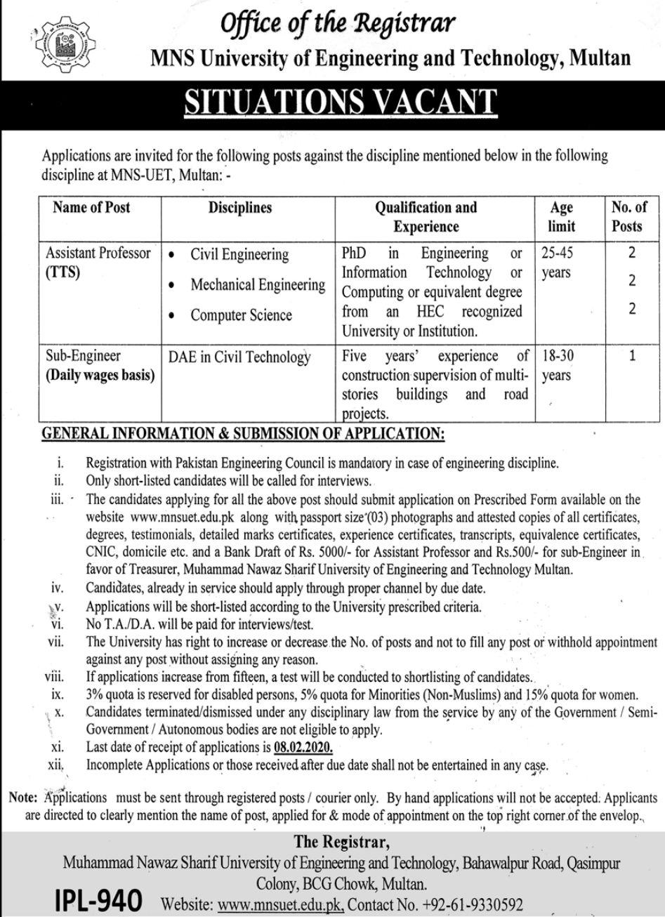 Engineering and Technology MNS University Multan Jobs 2021