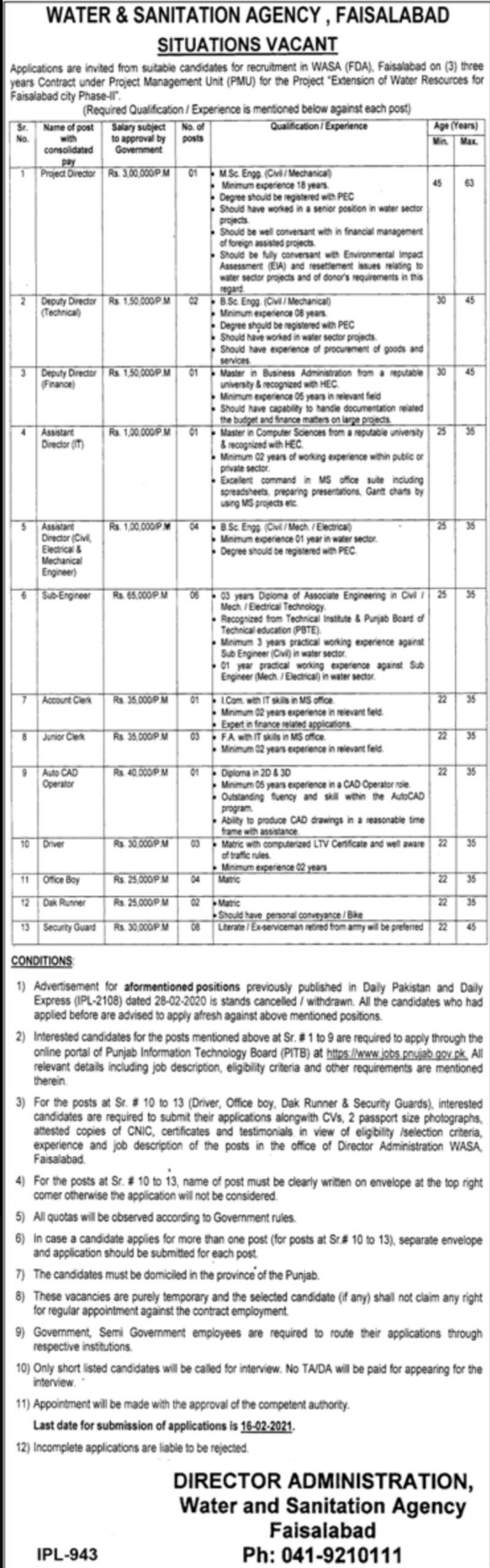 Faisalabad Water & Sanitation Agency Jobs 2021