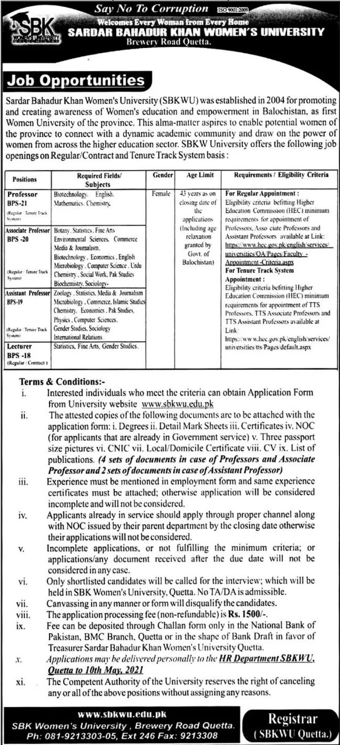 Sardar Bahadur Khan Womens University Jobs 2021