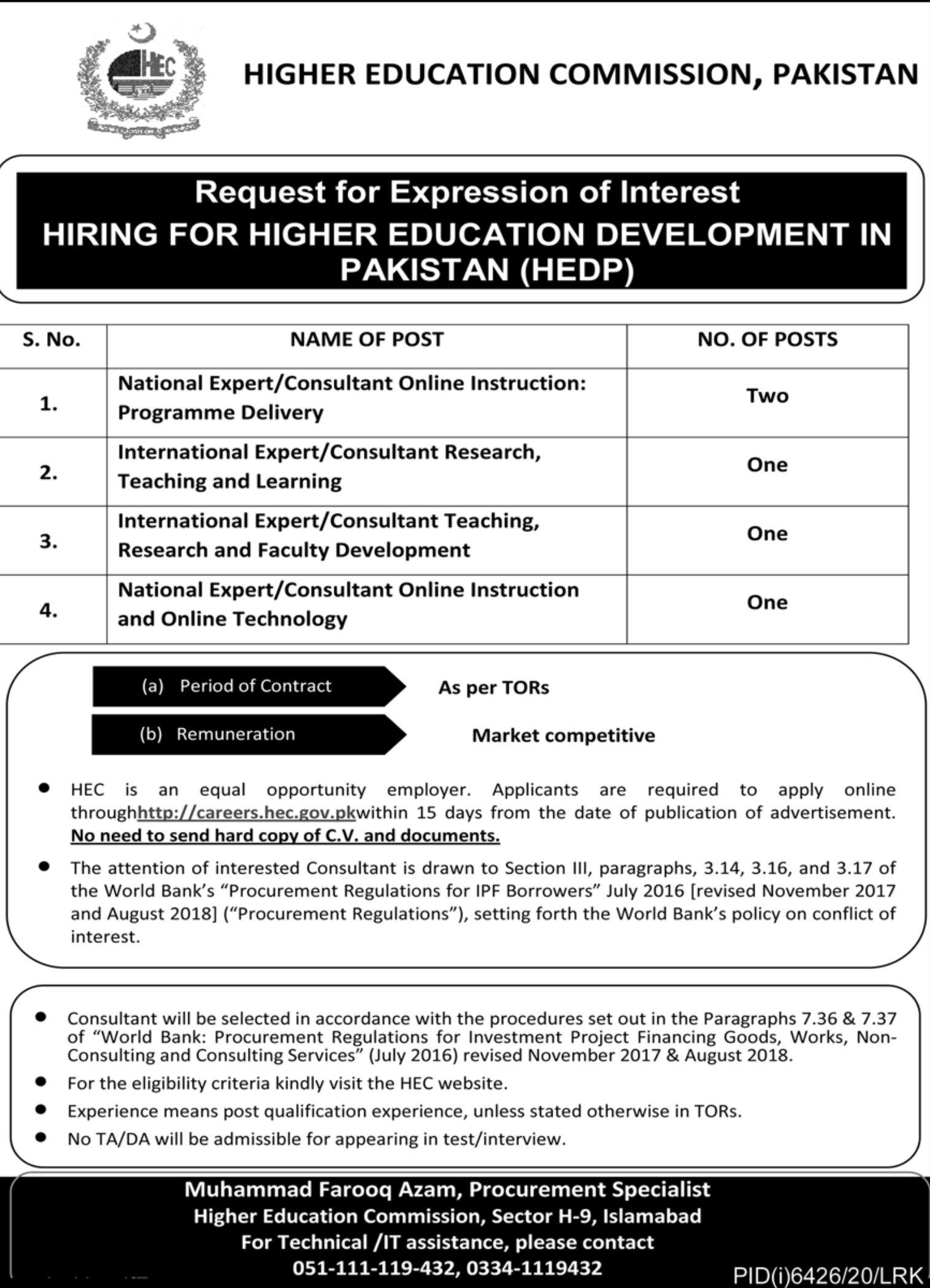 Higher Education Commission Pakistan Jobs 2021