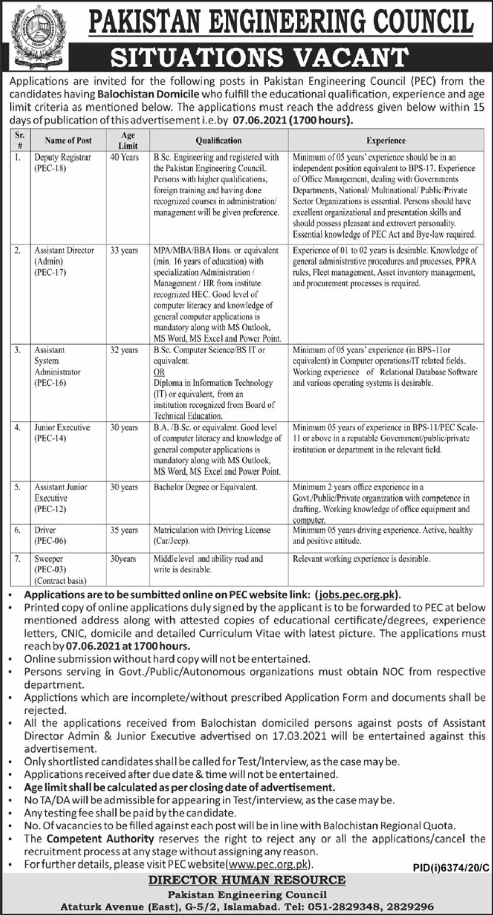 Pakistan Engineering Council Jobs 2021