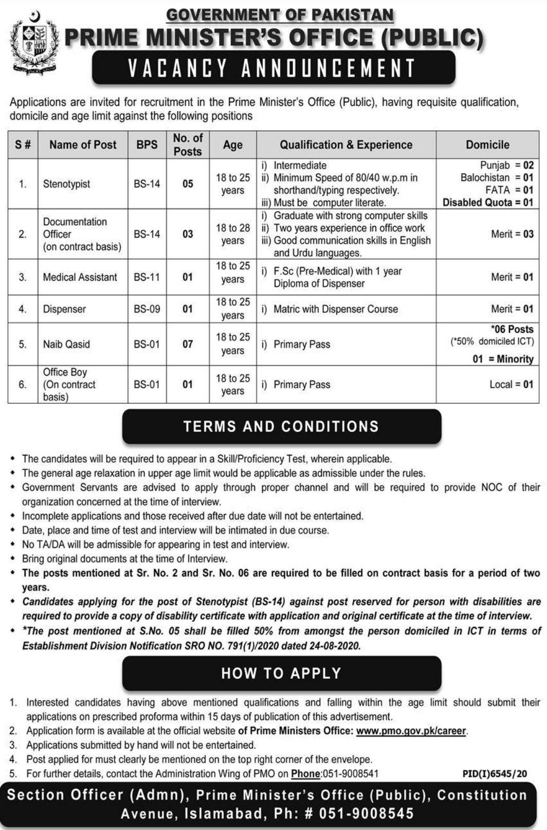 Govt of Pakistan Prime Minister's Office Jobs 2021